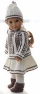 dollknittingpatterns 0157d sophia - genser, skjørt, strømpebukse, lue og sokker-(norsk)