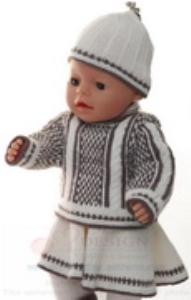dollknittingpatterns 0157d sophia - pullover, rock, mütze, strumpfhose und socken / schuhe-(deutsch)