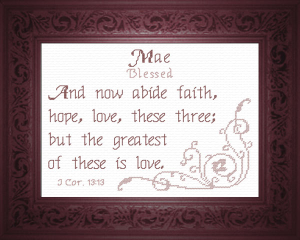 Name Blessings - Mae | Crafting | Cross-Stitch | Religious