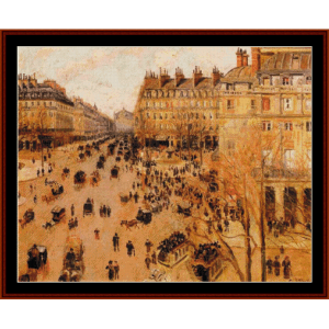 place du theatre, sun effect - pissarro cross stitch pattern by cross stitch collectibles