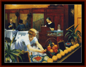 tables for ladies, 1930 - edward hopper cross stitch pattern by cross stitch collectibles