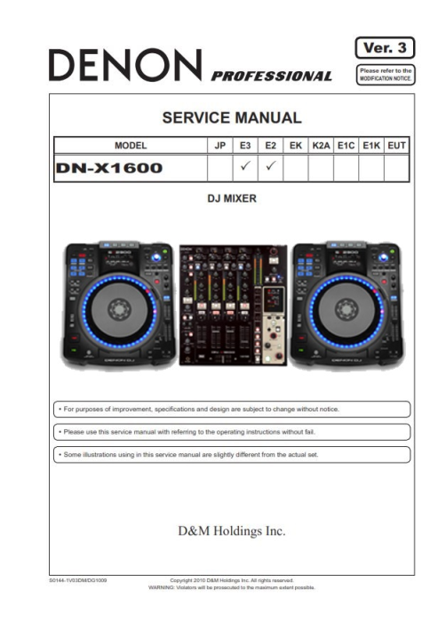First Additional product image for - Denon DN-X1600 DJ mixer Service Manual