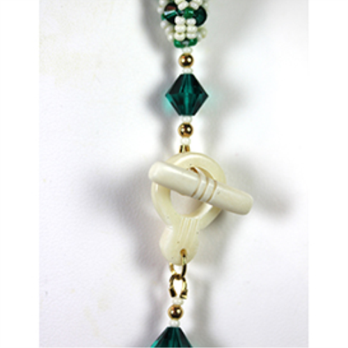 First Additional product image for - Encased Crystals-with Carved White Bone Beads and Toggle  Necklace-Pattern only