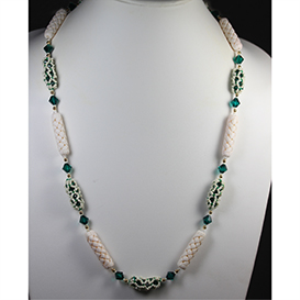 encased crystals-with carved white bone beads and toggle  necklace-pattern only