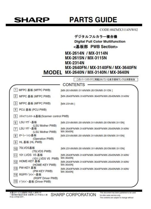 Sharp MX 2640N 3140N 3640N Full Service Manual Download