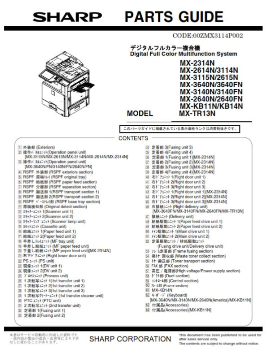 Second Additional product image for - Sharp MX 2640N 3140N 3640N Full Service Manual Download