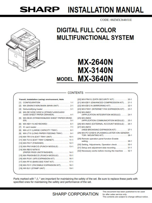 Third Additional product image for - Sharp MX 2640N 3140N 3640N Full Service Manual Download
