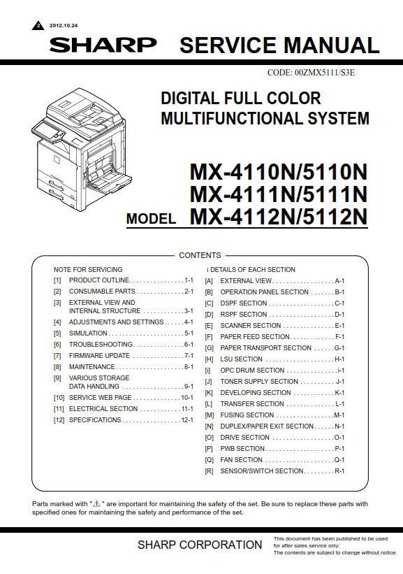 sharp mx 4110n 5110n full service manual download ebooks technical rh store payloadz com For Sharp MX M260 Toner For Sharp MX M260 Toner