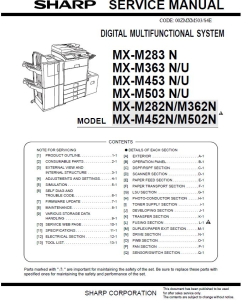 Sharp MX M283 M363 M453 M503  Full Service Manual Download | eBooks | Technical