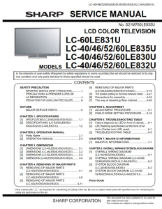 Sharp LC 40LE835U 46LE835U 52LE835U 60LE835U Service Manual & Repair Guide | eBooks | Technical