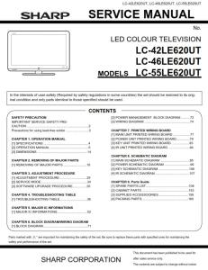 Sharp LC 42LE620UT 46LE620UT 55LE620UT Service Manual & Repair Guide | eBooks | Technical