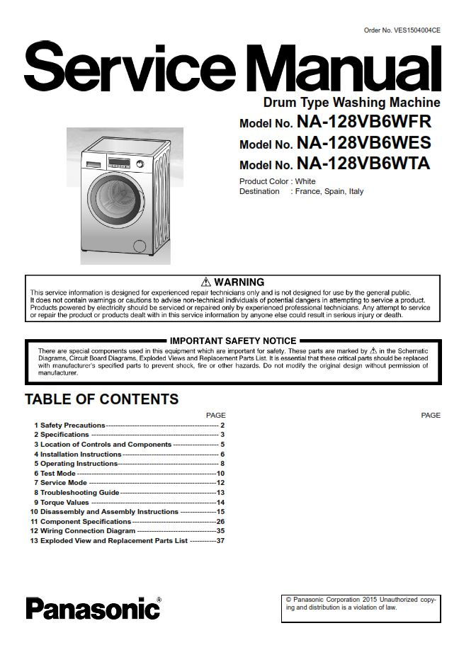 Panasonic NA 128VB6 128VB6WES 128VB6WFR 128VB6WTA Washing Machine Service Manual | eBooks | Technical
