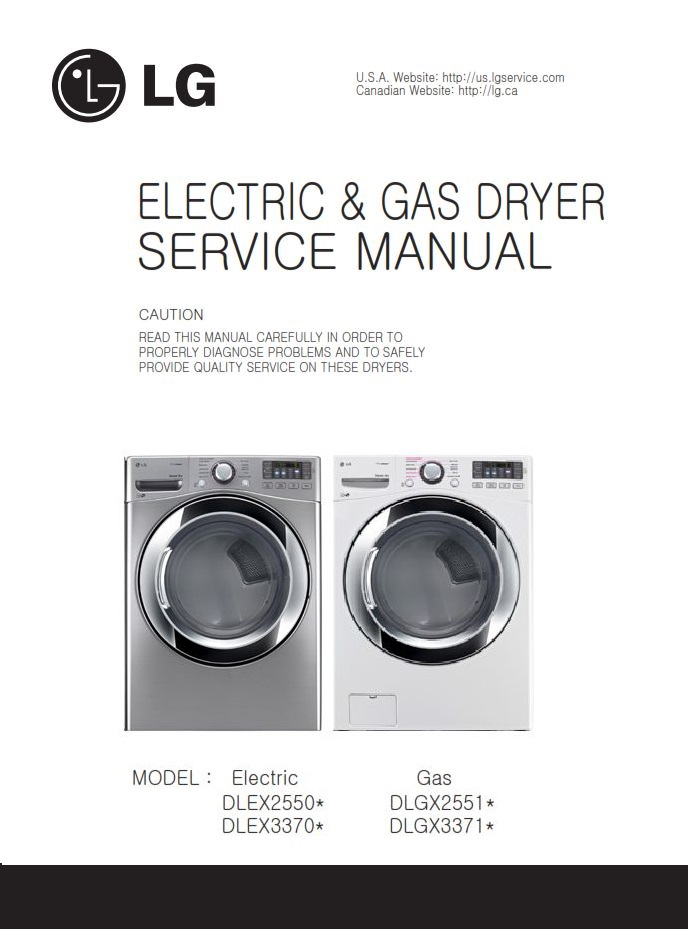 LG DLEX3370V DLEX3370W dryer service manual and repair guide | eBooks | Technical