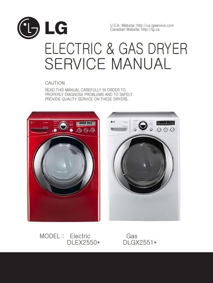LG DLGX2651R DLGX2651W dryer service manual and repair guide | eBooks | Technical