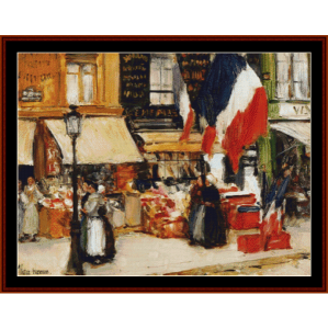 bastille day - childe-hassam cross stitch pattern by cross stitch collectibles
