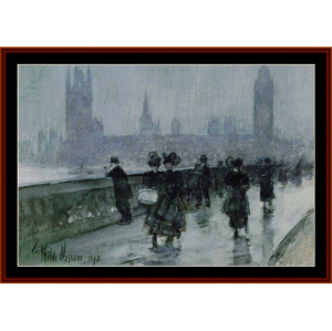 westminster bridge - childe-hassam cross stitch pattern by cross stitch collectibles