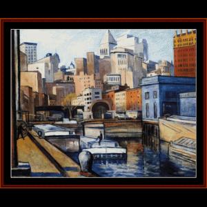 downtown ny, 1922 - halpert cross stitch pattern by cross stitch collectibles