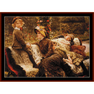 the garden bench - tissot cross stitch pattern by cross stitch collectibles