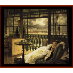a passing storm - tissot cross stitch pattern by cross stitch collectibles
