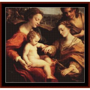 Mystic Marriage of St. Catherine - Correggio cross stitch pattern by Cross Stitch Collectibles | Crafting | Cross-Stitch | Wall Hangings