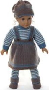 dollknittingpatterns 0162d tobine - skjørt, genser, lue, strømpebukse og sko -(norsk)