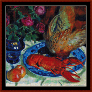 still life with pheasant - kustodiev cross stitch pattern by cross stitch collectibles