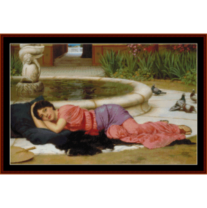 A Cool Retreat, 1910 - Godward cross stitch pattern by Cross Stitch Collectibles | Crafting | Cross-Stitch | Wall Hangings