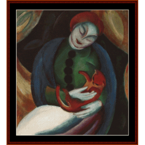 girl with cat, 1912 - franz marc cross stitch pattern by cross stitch collectibles