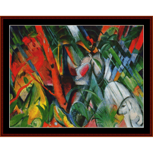 in the rain, 1912 - franz marc cross stitch pattern by cross stitch collectibles