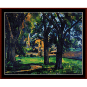 Chestnut Tree and Farm - Cezanne cross stitch pattern by Cross Stitch Collectibles | Crafting | Cross-Stitch | Wall Hangings