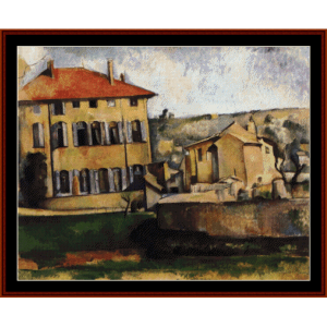 house and farm at jas de bouffan - cezanne cross stitch pattern by cross stitch collectibles