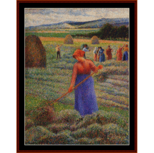 Haymakers at Eragny, 1889 - Pissarro cross stitch pattern by Cross Stitch Collectibles | Crafting | Cross-Stitch | Wall Hangings