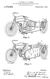1916 Motorcycle Side Car Patent Art Drawing | Photos and Images | Vintage