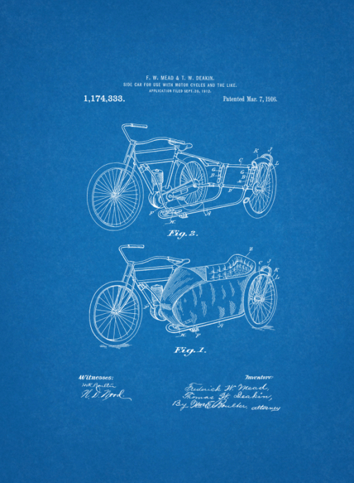 First Additional product image for - 1916 Motorcycle Side Car Patent Art Drawing