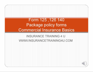 commercial package basics forms 125,126,140