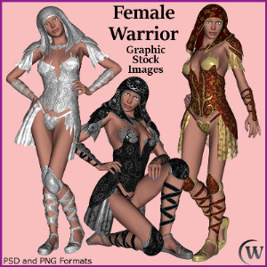 female warrior graphic stock images
