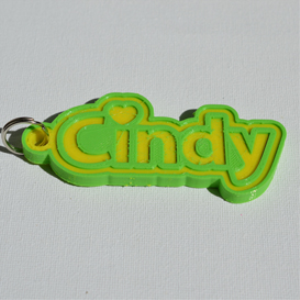 cindy single & dual color 3d printable keychain-badge-stamp