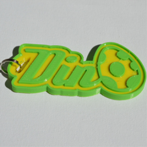 dino single & dual color 3d printable keychain-badge-stamp