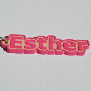 esther single & dual color 3d printable keychain-badge-stamp