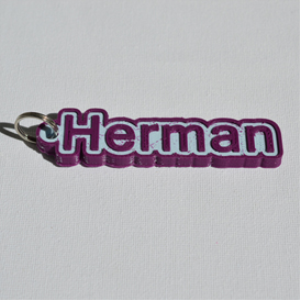 herman single & dual color 3d printable keychain-badge-stamp