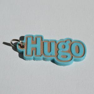 hugo single & dual color 3d printable keychain-badge-stamp