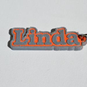 linda single & dual color 3d printable keychain-badge-stamp