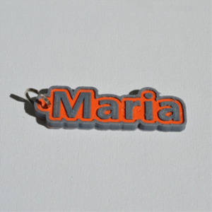 maria single & dual color 3d printable keychain-badge-stamp