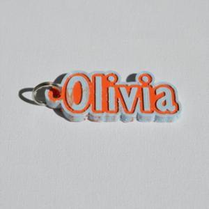 olivia single & dual color 3d printable keychain-badge-stamp