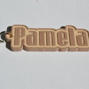 pamela single & dual color 3d printable keychain-badge-stamp