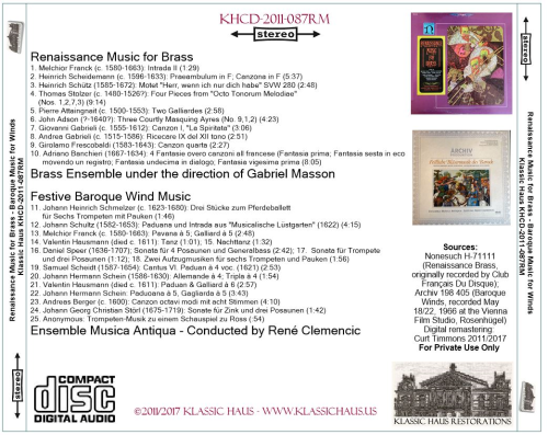 First Additional product image for - Renaissance Brass and Baroque Wind Music - Masson/Clemencic