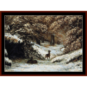 Deer in Winter, 1866 - Courbet cross stitch pattern by Cross Stitch Collectibles | Crafting | Cross-Stitch | Wall Hangings