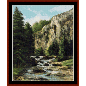landscape with waterfall - courbet cross stitch pattern by cross stitch collectibles