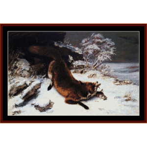fox in the snow, 1860 - courbet cross stitch pattern by cross stitch collectibles
