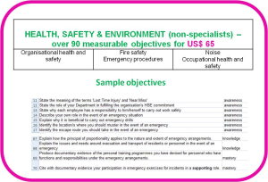 competence objectives - topic: health safety environment for non-specialists